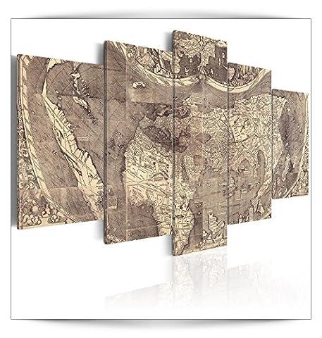 Wandbilder Weltkarte 200x100 cm 5 Teilig | Leinwandbilder | Vlies Leinwand | Bilder | Wand | Bild | Wandbild | Kunstdruck | Wanddeko | Alt Map Retro Vintage Weltkarte Kontinente |
