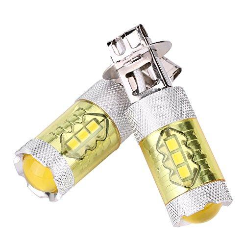 Qiilu 1 Paar 12-24 V 80 Watt H3 16SMD LED Gelb Auto Nebelscheinwerfer Lampen