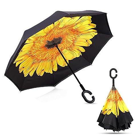 Parapluie avec C-mains en forme de poignée coupe-vent inversé pliant double couche inversée parapluie Parasol inversé double et Self Standing Inside Out parapluie protection contre la pluie (Sunflower)