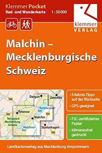 Klemmer Pocket Rad- und Wanderkarte Malchin – Mecklenburgische Schweiz: GPS geeignet, Erlebnis-Tipps auf der Rückseite, 1:50000