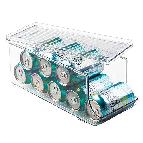 InterDesign Fridge/Freeze Binz Organizador de latas para frigorífico, caja de plástico con tapa para 9 latas, organizador de nevera, transparente