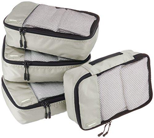 AmazonBasics Lot de 4sacoches de rangement pour bagage TailleS, Gris