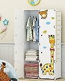 Koossy Erweiterbares Kinderregal Kinder Kleiderschrank mit Giraffe Aufkleber für Kinderzimmer (5Cuebs&1Hanger)