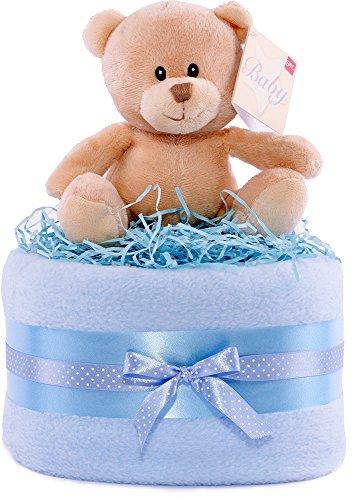 Hug Bär blau und weiß Baby Dusche Windeltorte-Jungen -