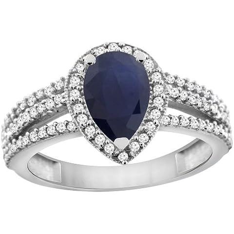 Revoni diffuse, oro bianco 14 k con zaffiro di Ceylon, 9 x 7, motivo Halo, con diamante, a forma di pera - Ceylon Sapphire
