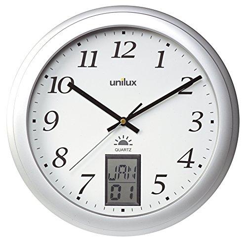 UNILUX 100340853 Wanduhr Instinct Quartz-Uhr metall-grau 31 cm automatische Zeitumstellung von Sommer- und Winterzeit modernes Ziffernblatt
