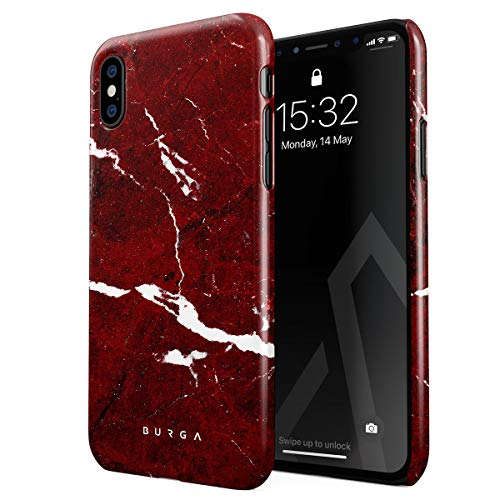 BURGA Hülle Kompatibel mit iPhone XS Max Handy Huelle Iconic Rubin Rot Marmor Muster Ruby Red Marble Mädchen Dünn, Robuste Rückschale aus Kunststoff Handyhülle Schutz Case Cover Ruby Red Handy