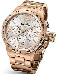 TW Steel CB164Hombres Dial de plata reloj de banda de acero inoxidable de la pulsera de oro rosa