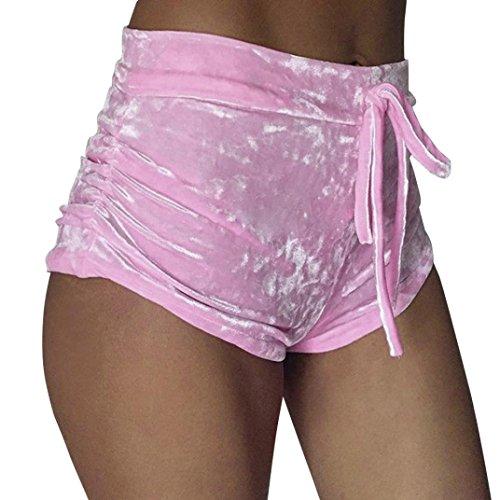 Bekleidung Longra Damen Shorts Mode Frauen zerkleinert samt Runner lässige Shorts High-Waist Hosen Sommer kurze Hosen (Asian M(Waist:64-72cm/25.2-28.4), Pink) (Samt-bhs)