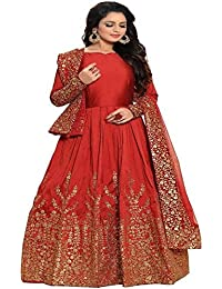 Ethnic Wings Women Silk Anarkali Semi-Stitched Salwar Suit (EW& ET_ER10458_Red_Free Size)