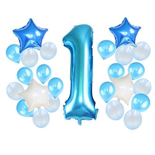 Poseca Babies erstes Geburtstagsdekorationsballons-Set Folienstern Ballons aus Festem Latex Ballons Große Anzahl Ballons Perfekt für 1. Mädchen-Partyartikel für Jungen