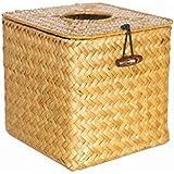KAMIERFA mano tejer cuadrado caja de pañuelos dispensador de papel, color caqui