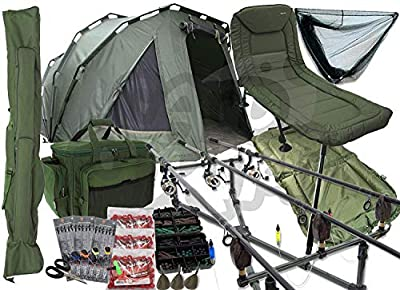Full Carp Fishing Setup Complete With Pram Style Bivvy 3 Rods Reels & Chair Also Comes with Rod holdall & carryall Plus Tackle