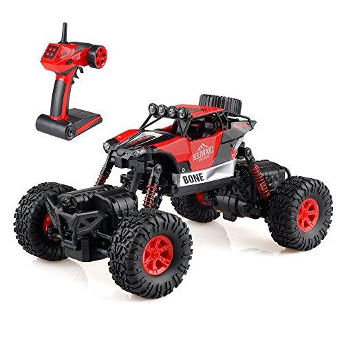 Gizmovine 1/16 VoitureTélécommandée RC Car off-road Rock Crawler 2.4GHZ 4WD 4 Mode de Direction Splash Imperméable à L'eau Voiture Montée (Rouge)