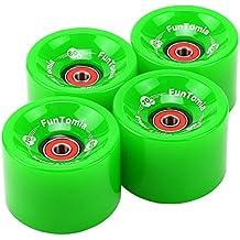 4x FunTomia - Longboard wheels ruedas 70x51 mm 80A o 86A- con 8x Mach1® rodamientos ABEC-11