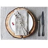 4-er Pack Leinen Platzsets - Tischset Stoff 100% Leinen - 50 x 35 cm - Farbe Natur Braun/Varvara Home 1560