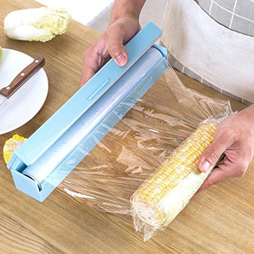 hunpta Vogue plástico cortador de papel de cocina y dispensador de film transparente de almacenamiento 3Color azul