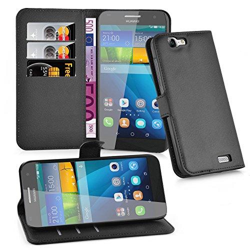 Cadorabo Hülle für Huawei G7 Hülle in Phantom schwarz Handyhülle mit Kartenfach & Standfunktion Case Cover Schutzhülle Etui Tasche Book Klapp Style Phantom-Schwarz