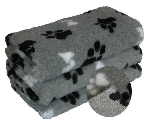 dry bed Petbed Hundedecke mit Pfoten ca. 150 x 100 cm dreifarbig grau Pfote schwarz und weiss