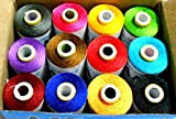 #7: Colorful Polyester Thread for tassel making/ art & craft works,jewelry making, decorative stitches / Multicolor /12 Pcs