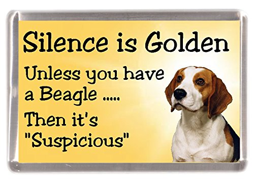 "Beagle Dog Fridge Magnet""Silence is Golden Unless You Have a Beagle Then It's Suspicious"" – Fun Novelty Dog Gift Lovely Mothers/Fathers Day Birthday Christmas Present Idea"