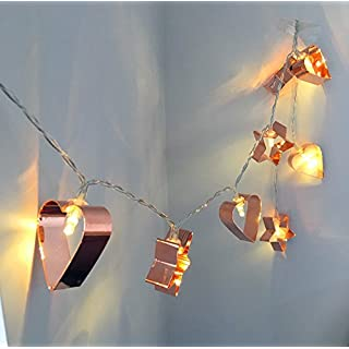 AntEuro Metal String Lights, 3M 20LED Fairy Lights Rose Gold Metal Heart and Star String Lights Battery Operated For Christmas Home Party Decoration