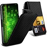 Fone-Case (Black Carbon) HTC One M9s Hülle Abdeckung Fall Clamp Style Schutz PU Leder Flip-Cover