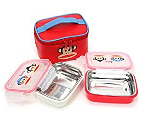Paul frank Red Stainless Lunch Box Bento Set with Lunch Bag for Girl/Kids/boys/women/men