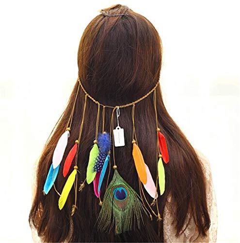 Chasiroma Hippie-Stirnband mit Pfauenfedern, Bohemia Tribal, indisches Hippie-Kopfbedeckung, geflochtene Perlen, Kopfbedeckung, Festival, Haarschmuck (Boardwalk Empire Kostüm Halloween)
