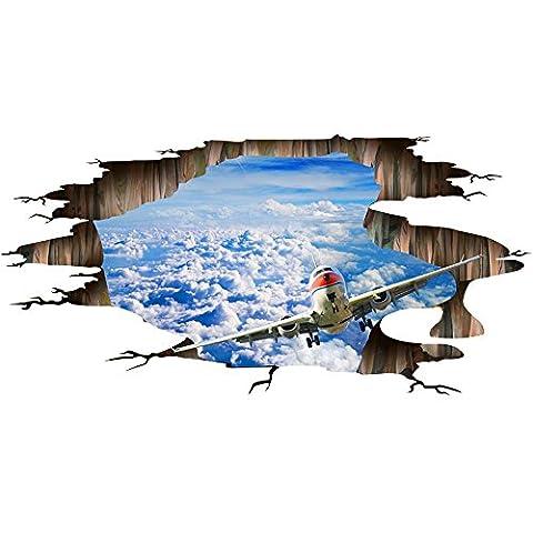Aufkleber 3D-Aufkleber Wand-Aufkleber 50 * 70CM Landschaft blauer Himmel Weißes Wolke Plakat quarto Schlafzimmer Wandabziehbilder Aufkleber muraux vinilos paredes