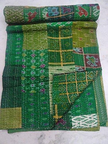 228,6x 274,3cm Seide patola Quilt Handmade Kantha Überwurf multipatch Decke Queen Bett Spread Vintage patola