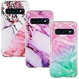 CLM-Tech Hülle 3X kompatibel mit Samsung Galaxy S10 Plus, TPU Silikon-Hülle Case Schutzhülle Handyhülle 3er Set, Marmor pink lila türkis