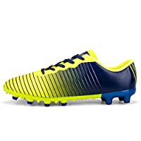 V-Do Men Fashion Soccer Shoes with Cleats Outdoor Professional Gradually Varied Football Shoes for Boys and Girls Trainers Blue Yellow