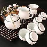 CUPWENH Chinesische Schnee Glasur Kung Fu Teeservice Keramik Porzellan Teekanne Teekanne Witn 6 Teetasse Filter Messe Cup Gongfu Tee Set Mit Geschenkbox, B