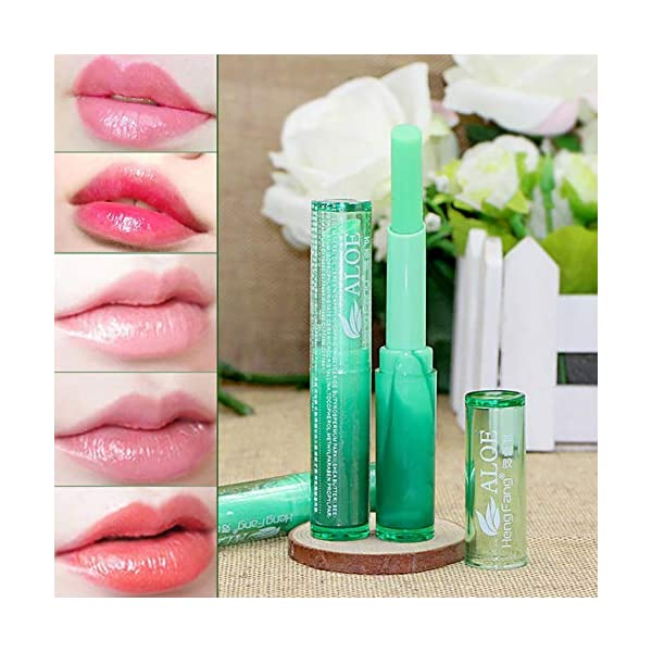 1PC Lápiz labial orgánico Lápiz labial de gelatina de aloe vera Bálsamo labial de larga duración Cambio de color mágico…