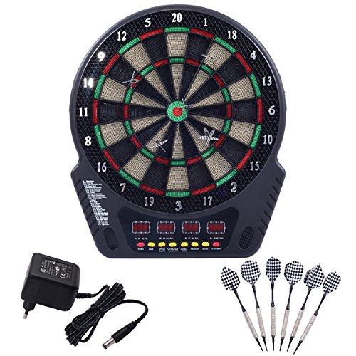 COSTWAY Elektronische Dartboard Dartscheibe Dartautomat LCD Dartspiel Dartpfeil + 6 Pfeile