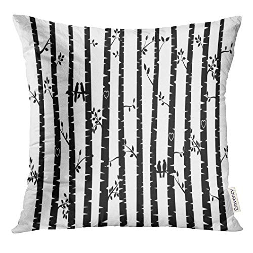 Aspen Labs (KENETOINA Throw Pillow Cover Aspen Black and White Birch Tree Silhouette with Birds Trunk Wood Decorative Pillow Case Home Decor Square 18