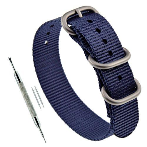 22 mm Espesor Azul Reloj Zulu Nylon reemplazo Correa