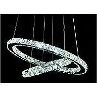 XIAOMIN American Industrial creativo trasparente taglio laser lampadario di cristallo con telecomando: Soggiorno Pendant Light Fixtures finitura acciaio inox lucidato , double ring 40+60cm , A