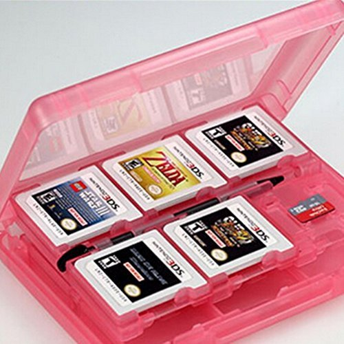 BeautyLife - 28-in-1 Game Card Case Holder Cartridge Box for Nintendo 3dsXL juegos (rosa)