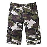 TEBAISE Herren Cargo Camo Bermuda Shorts Kurze Hosen Camo Bermuda Bundhose Sweatshorts Hose Jogginghose mit Verschließbaren Eingriffstaschen Regular Fit(Armee grün,33