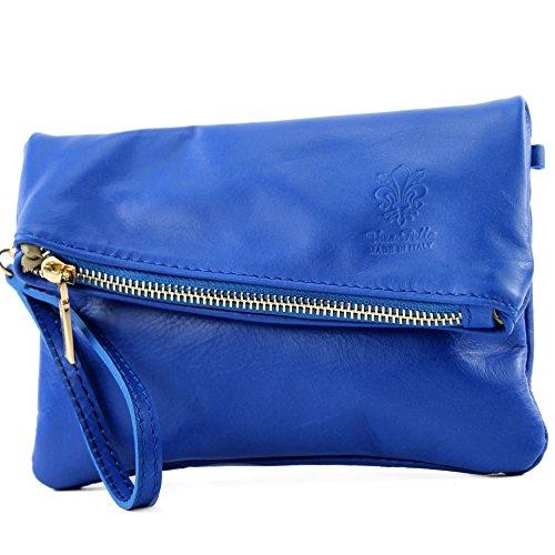 modamoda de -. ital petites dames de sac d'épaule de sac en cuir d'embrayage poignet Sac en cuir T95, Präzise Farbe (nur Farbe):Royalblau