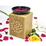 Collectible India Ceramic Ethnic Electric Aroma Diffuser Essential Oil Burner Scented Aromatherapy Oils Warmer Square Shape With 10 Ml Aroma Oil