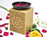 #3: Collectible India Ceramic Ethnic Electric Aroma Diffuser Essential Oil Burner Scented Aromatherapy Oils Warmer Square Shape With 10 ml Aroma Oil