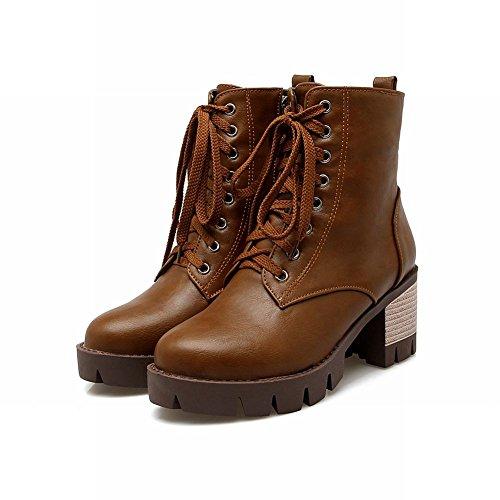 ... Mee Shoes Damen chunky heel Plateau halbschaft Schnürsenkel Stiefel  Braun ...