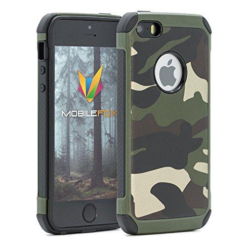 mobilefox® Camouflage Handy Schutzhülle Outdoor Case Army Cover für Apple iPhone 5/S/SE Grün