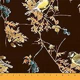 Soimoi Braun Baumwoll-Popeline Stoff Black Berry & Yellow