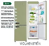 Wolkensetin KG250.4RT SG A++ Retro Kühl-Gefrier-Kombination Hellgrün 250Liter 55cm Breit, Kühlschrank, automatisches Abtauen,großes Gefrierfach