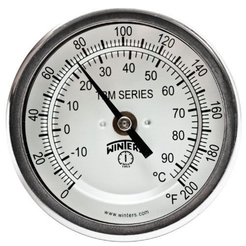 Winters TBM Series Stainless Steel 304 Dual Scale Bi-Metal Thermometer, 2-1/2 Stem, 1/2 NPT Fixed Center Back Mount Connection, 3 Dial, 0-200 F/C Range by Winters