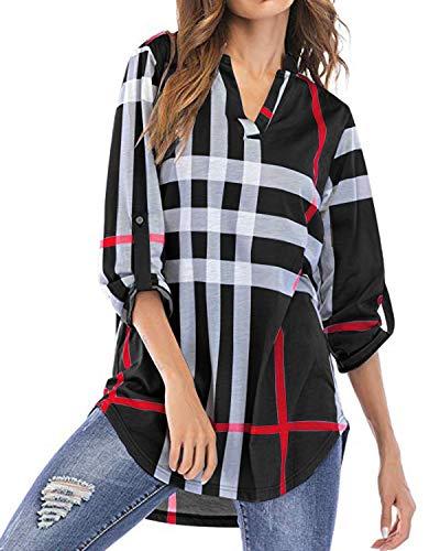 YOINS Bluse Damen Oberteile Elegant Sexy Tops Langarmshirt Gestreift Kariert V-Ausschnitt Hemd Schwarz EU44(Kleiner als Reguläre Größe)
